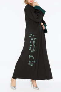 Green and Silver Patched Abaya