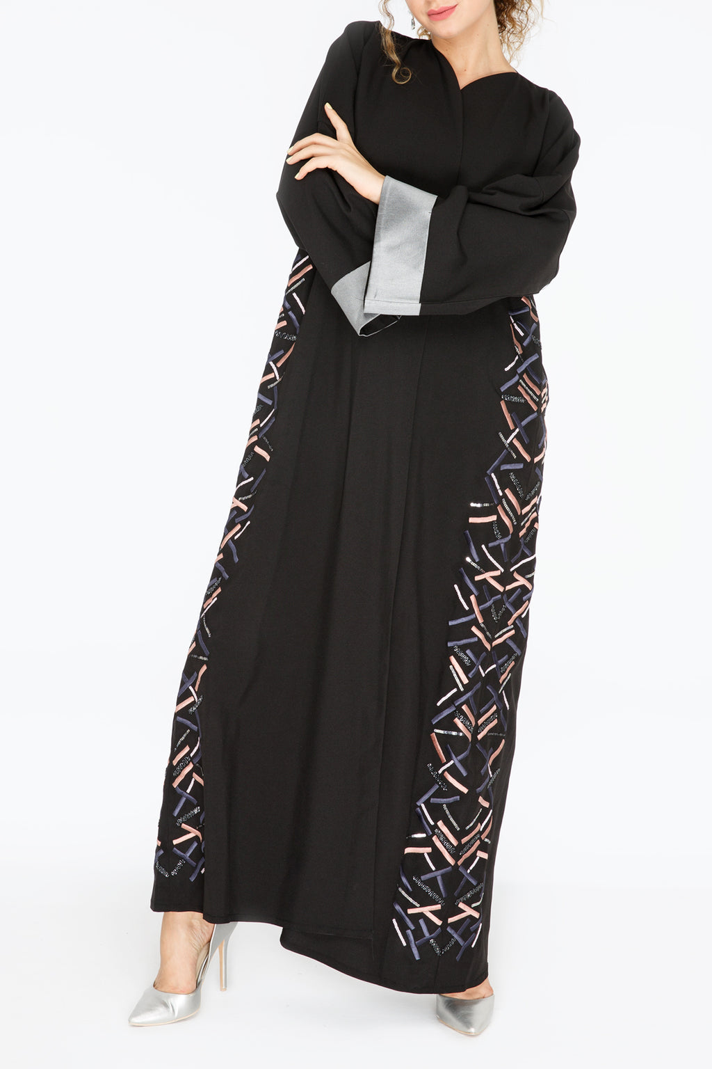 Blue and Pink Thread and Bead Work Abaya