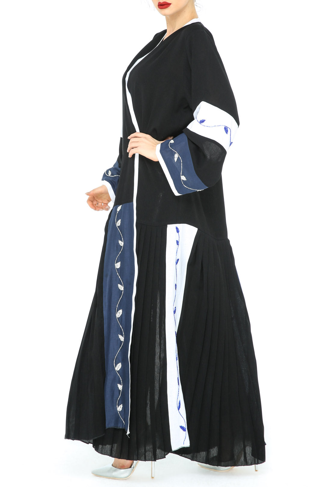 Blue White Panel Abaya