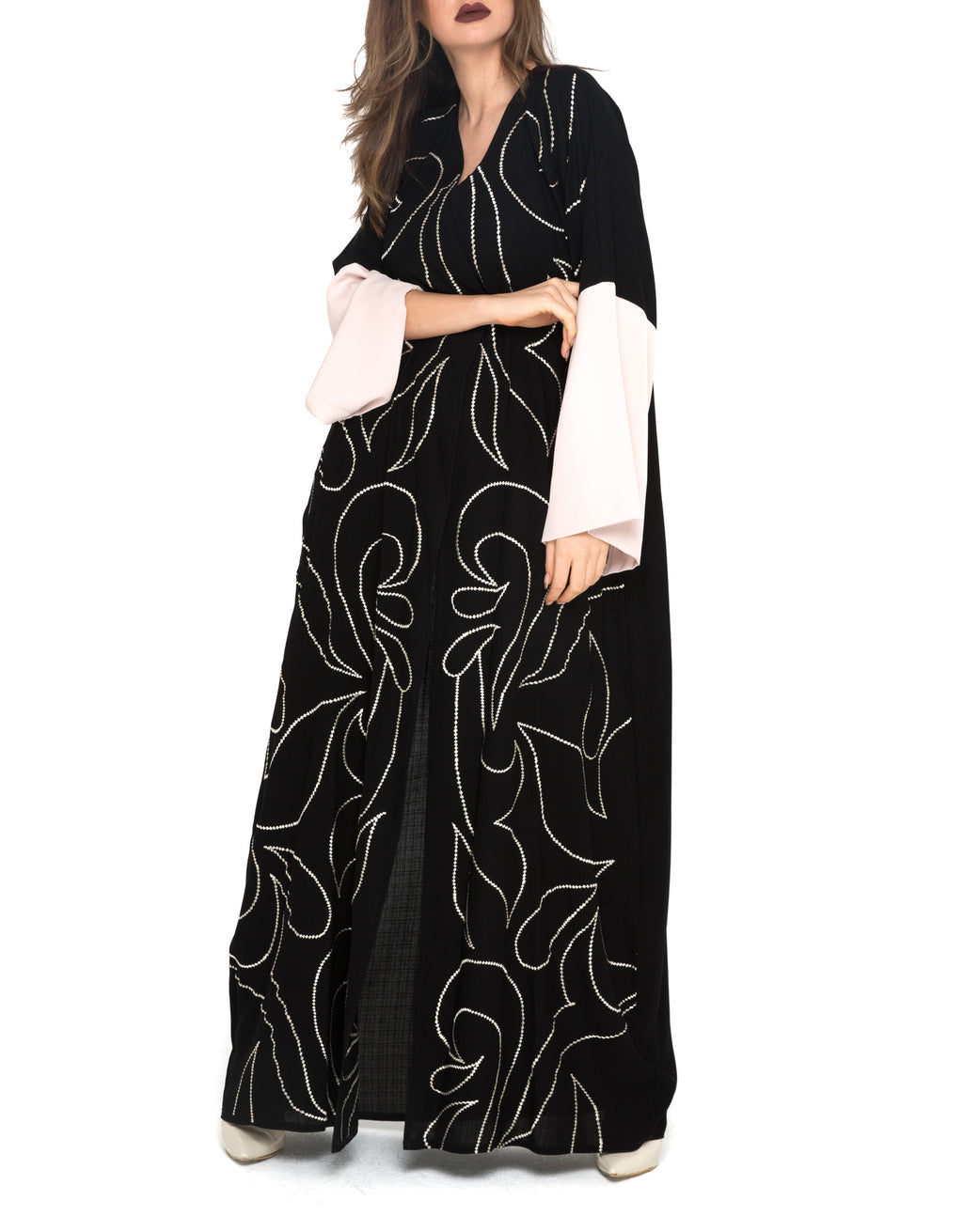 Swirly Floral Embroidery Abaya