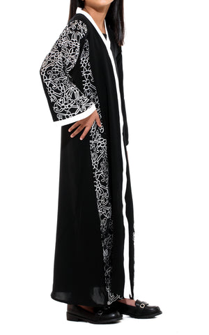 White Floral Embroidery Abaya