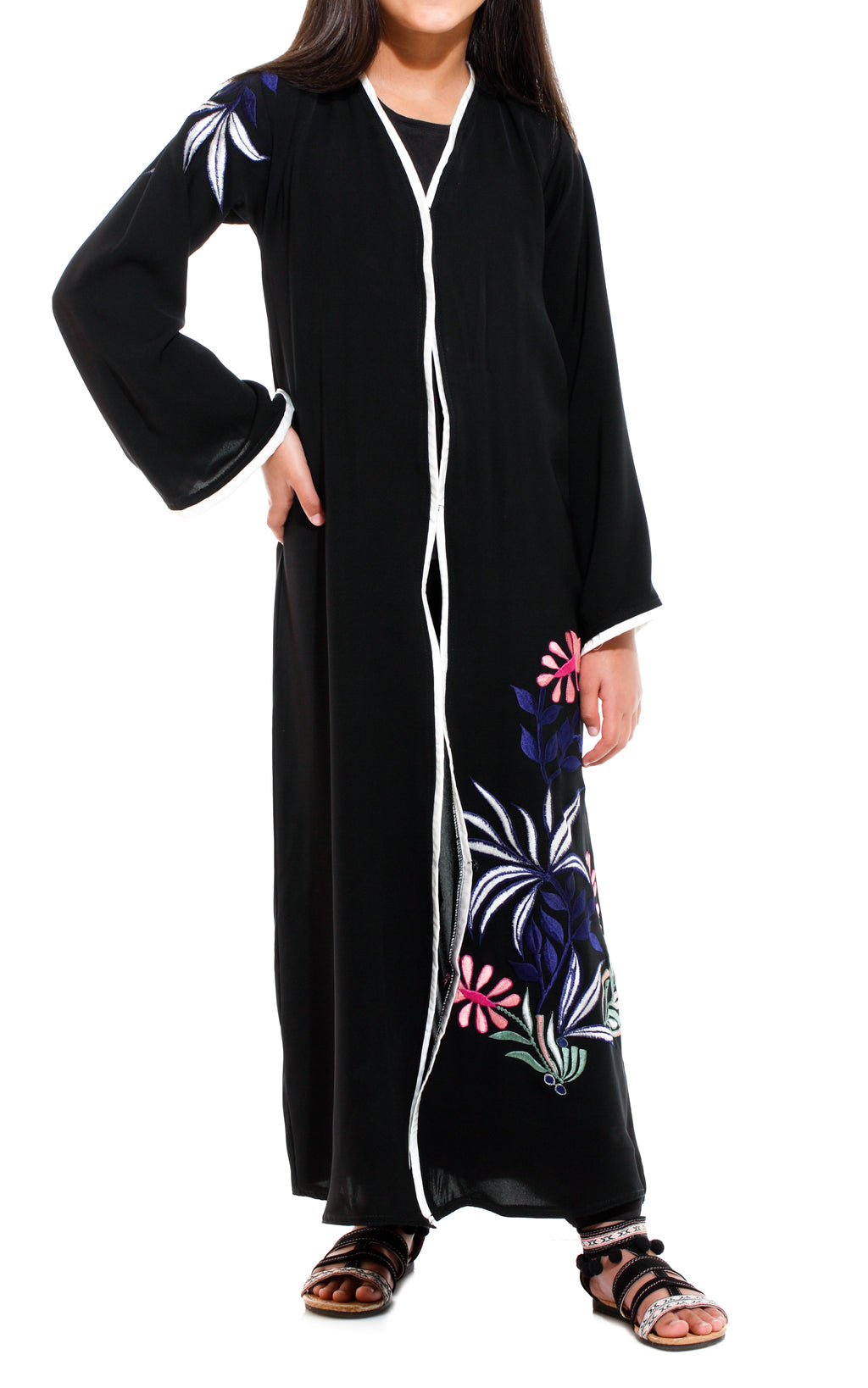 Blue & Pink Floral Embroidery Abaya