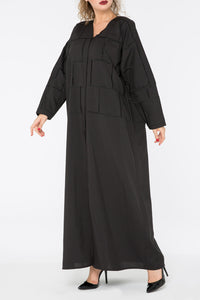 Black Square Embroidered Abaya
