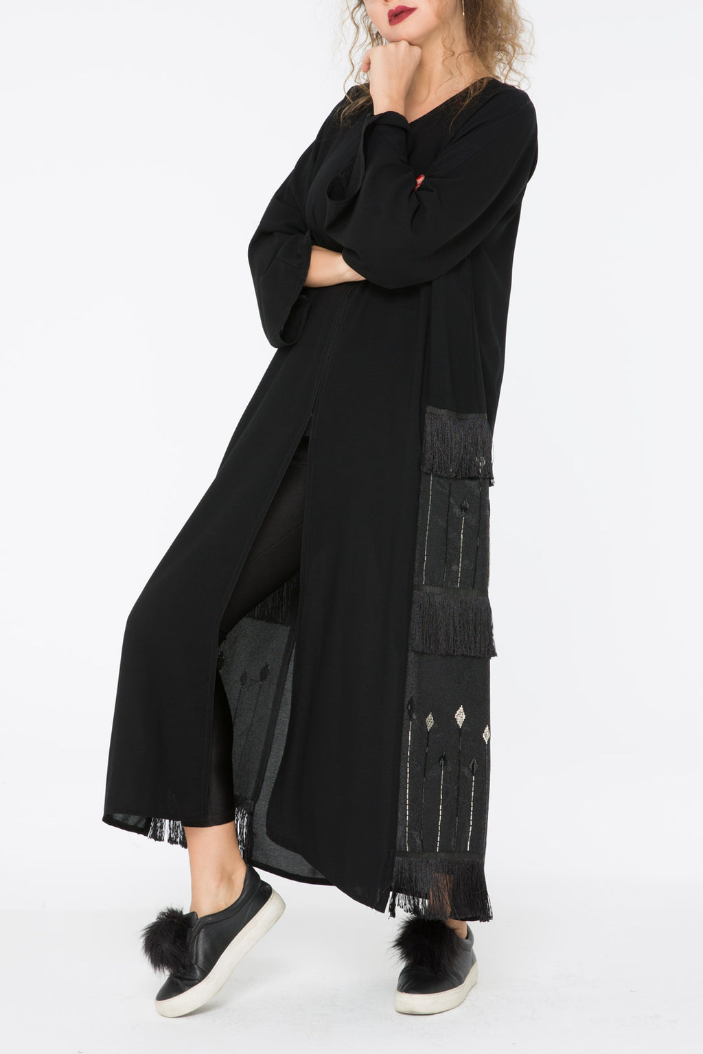 Detailed Black Panel Abaya