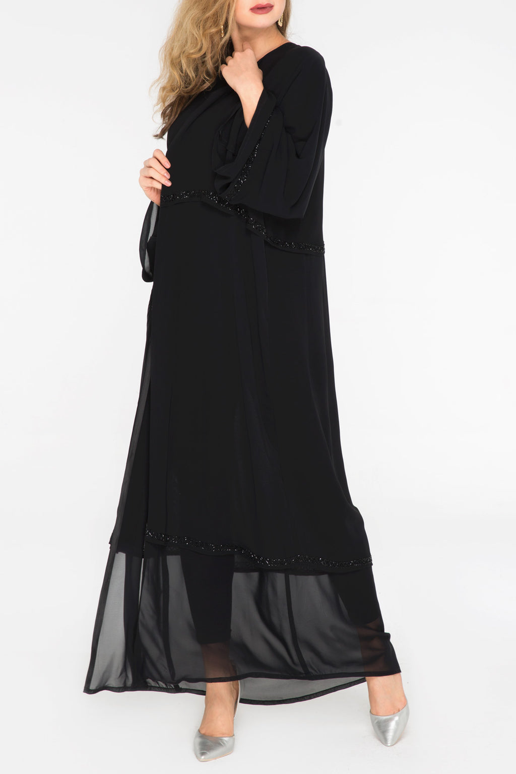 Double Chiffon Beaded Trim Abaya