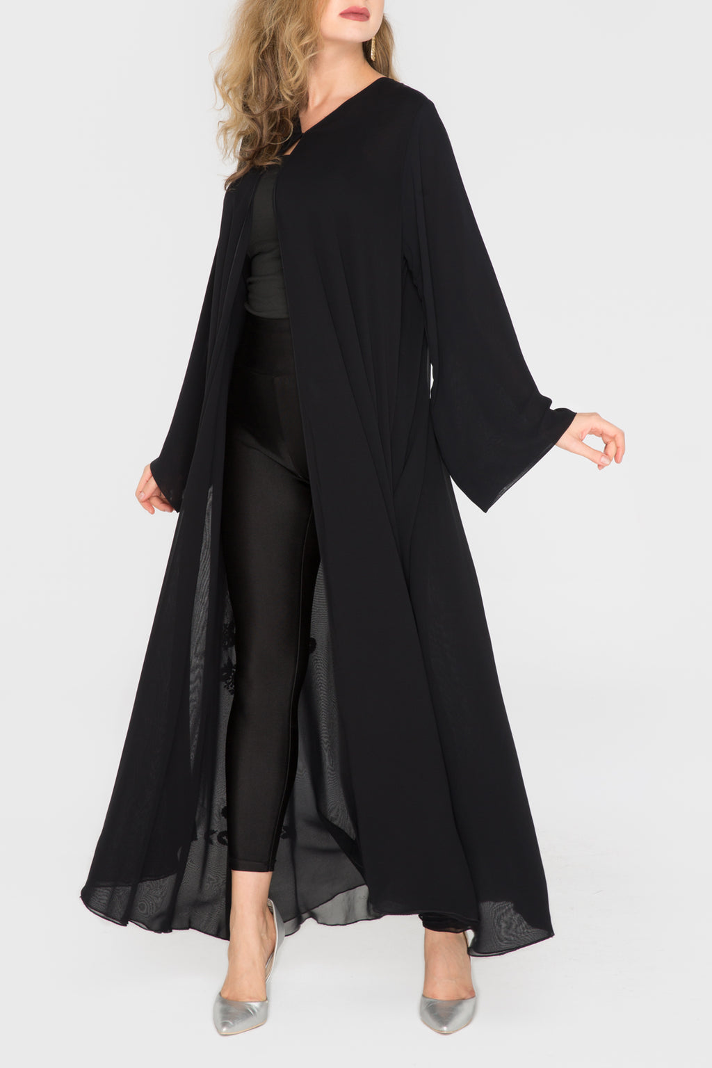 Double Chiffon with Floral Trim Abaya
