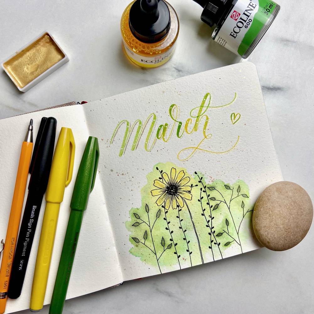 Use the Pentel Brush Sign Pigment with watercolours and look - no bleed