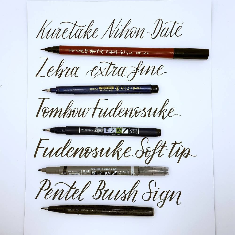 5 small-tip brush pens put to the test