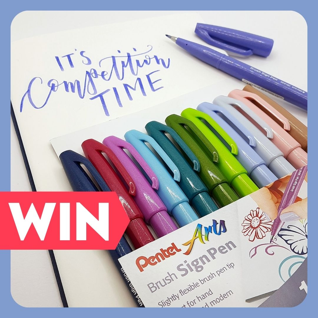 Enter now to win a set of 12 beautiful Brush Sign pens from Pentel