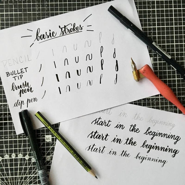 Success at modern calligraphy starts with the basic strokes