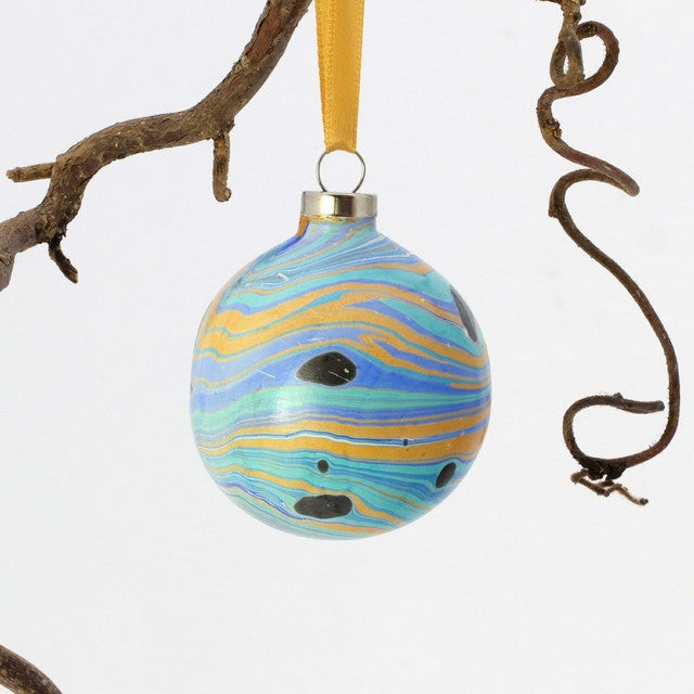 Ceramic marbled baubles from The Whimsical Marbler