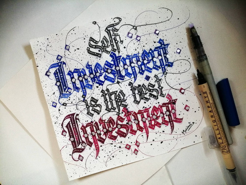 Self investment is the best investment calligraphy by Mariam Iqbal Mirza