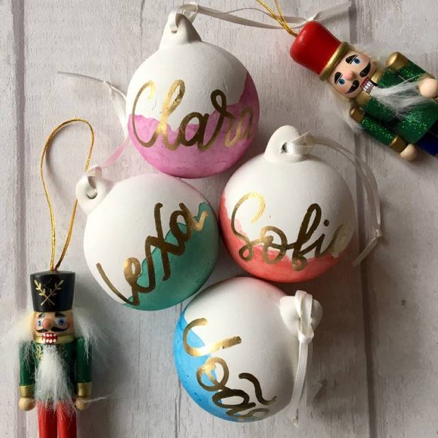 Personlaised baubles from The Preposterous Pigeon