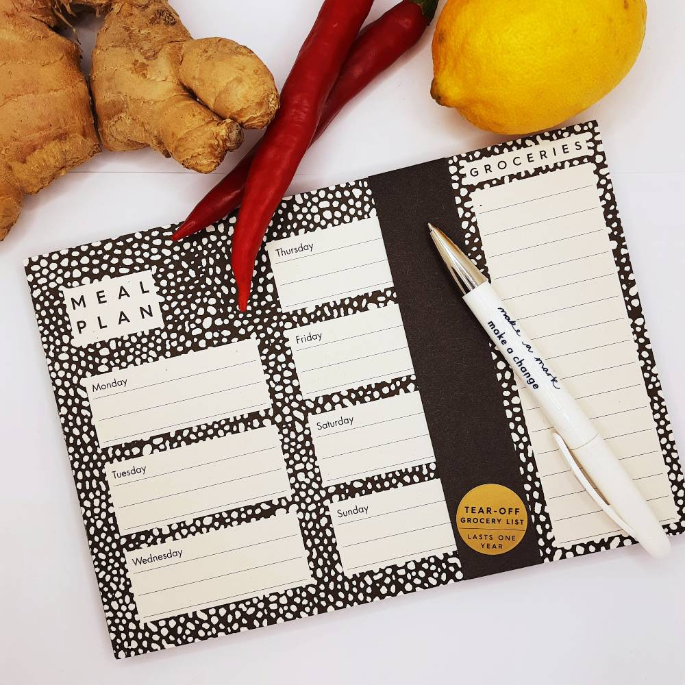 Studio Wald A5 meal planner pad with grocery list