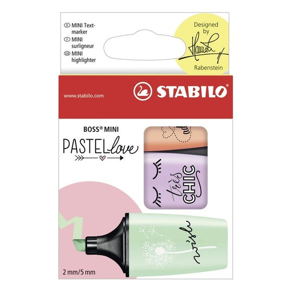 STABILO BOSS MINI Pastellove - 3 pastel highlighters