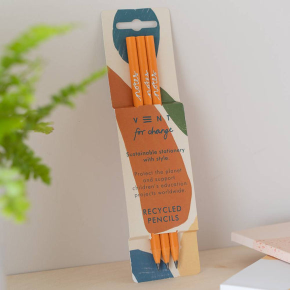 VENT For Change NOTES set of 3 recycled pencils - 3 colours available