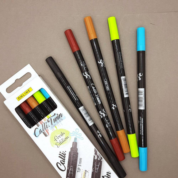 ONLINE Calli.Twin double-tip markers - 5 pen set, Fresh Edition