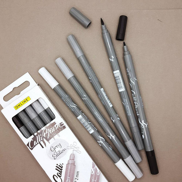 ONLINE Calli.Brush brush markers - 5 pen set, greys