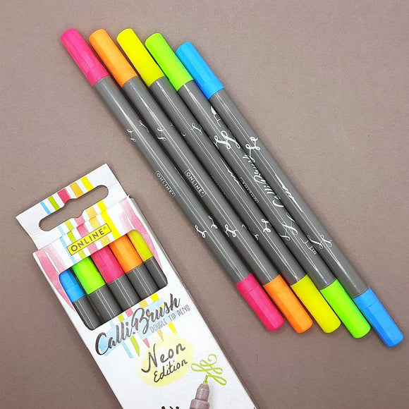 ONLINE Calli.Brush brush markers - 5 pen set, neon