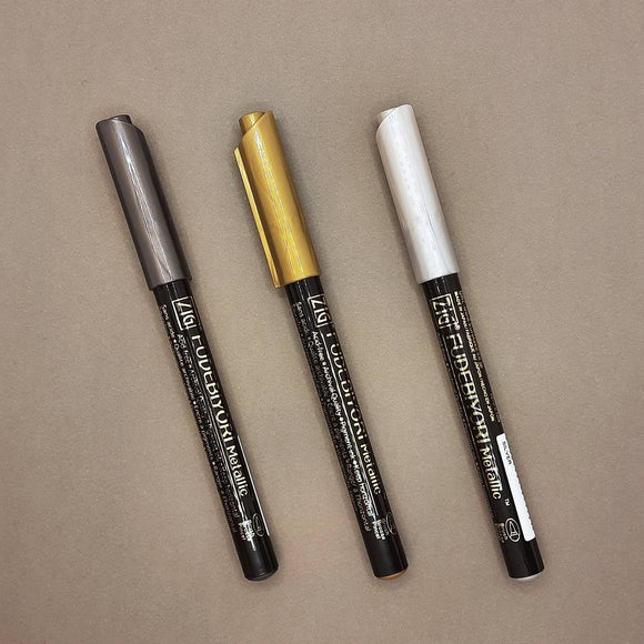 Kuretake Zig Fudebiyori metallic brush markers - 3 pen set
