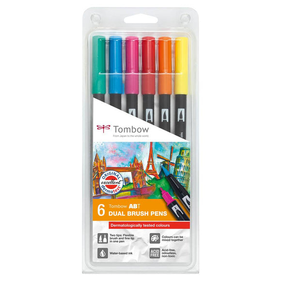 Tombow ABT Dual Brush Pens - 6-pen set, dermatologically tested colours