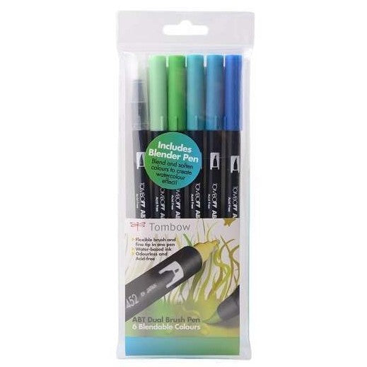 Tombow ABT Dual Brush Pens - 5-pen set plus Blender Pen, ocean