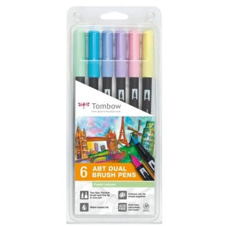 Tombow ABT Dual Brush Pens - 6-pen set, pastel