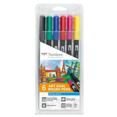 Tombow ABT Dual Brush Pens - 6-pen set, primary