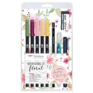 Tombow Watercolouring Set Floral - 9-piece pen set