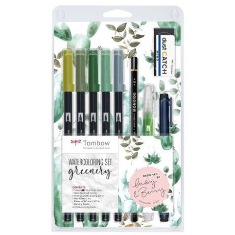Tombow Watercolouring Set Greenery - 9-piece pen set