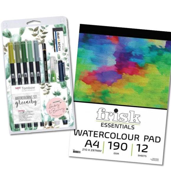 Watercolour Pens & Paper Gift Set - Greenery