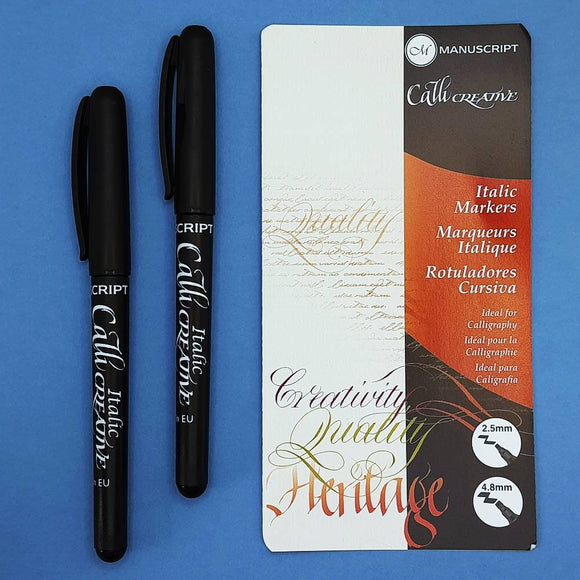 Manuscript CalliCreative Black Italic Pens - 2 pen set, Medium & Extra Broad