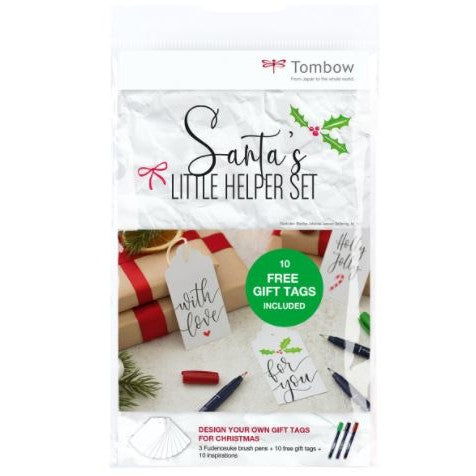 Tombow Santa's Little Helper tag & brush pen set