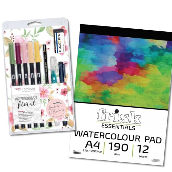 Watercolour Pens & Paper Gift Set - Floral