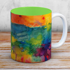 Atmosphere Watercolour & Ink Painting Mug (Lime Green Interior)