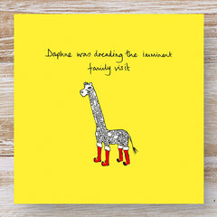 Daphne was dreading the imminent family visit - 3 Humorous Giraffe Christmas Cards