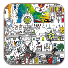 An Enchanted Village - Didsbury Drinks Coasters, Set of 2