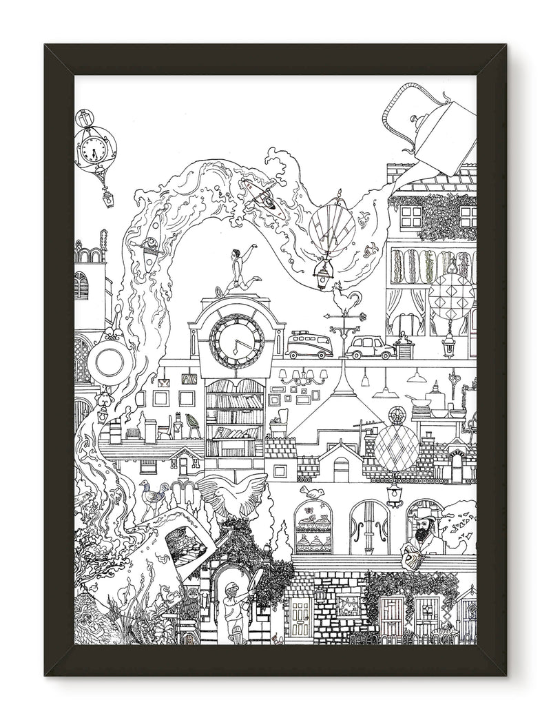The Enchanted Village print - Black and white