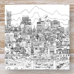 Manchester Skyline Greeting Card - black and white