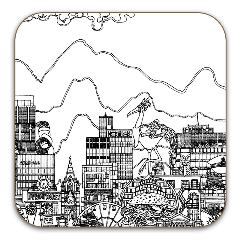 Manchester Skyline Coasters Set of 6 - Black & White