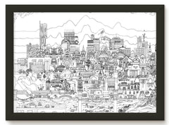 Manchester skyline print - black and white