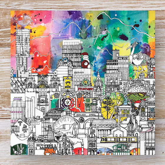 Manchester skyline greeting card - colour