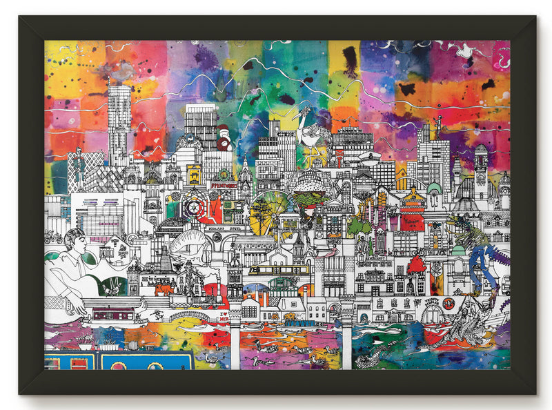 MANCHESTER SKYLINE PRINT - COLOUR