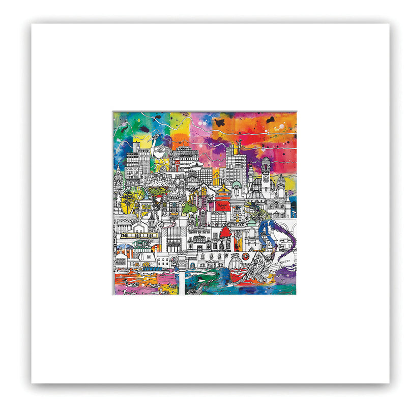 Manchester Skyline in Colour - Manchester Museum Side 8' x 8' Giclee Print