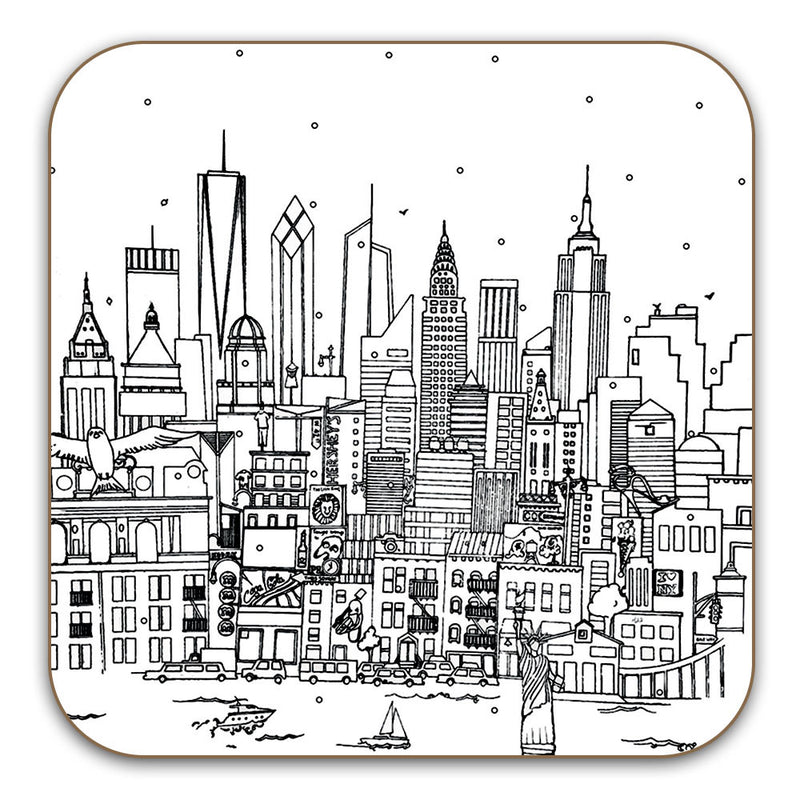 New York Skyline Coaster - black and white
