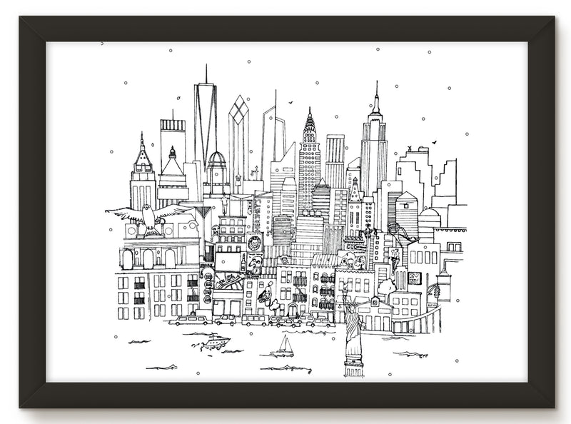 NEW YORK SKYLINE PRINT - BLACK AND WHITE