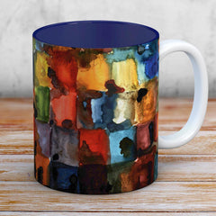 Watercolour and Ink Blocks Coffee Mug With a Navy Blue Interior