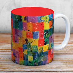Zoe Watercolour & Ink Mug With A Bright Red Interior