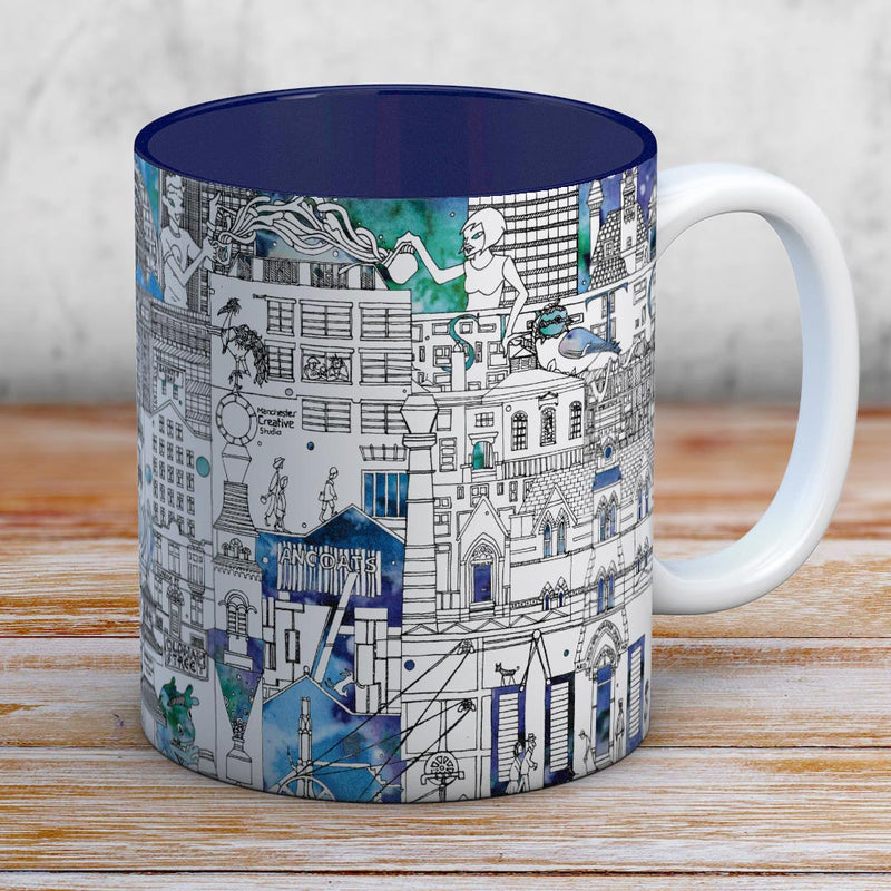 Industrial Manchester coffee mug - blue interior