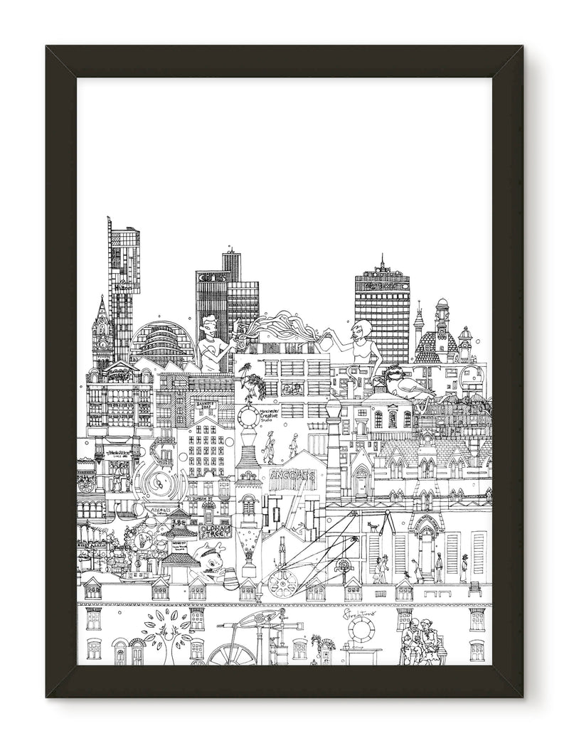 Industrial Manchester skyline print - black and white